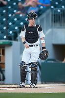 Charlotte Knights catcher Zack Collins (8) on defense against the Toledo Mud Hens at BB&T BallPark on April 23, 2019 in Charlotte, North Carolina. The Knights defeated the Mud Hens 11-9 in 10 innings. (Brian Westerholt/Four Seam Images)
