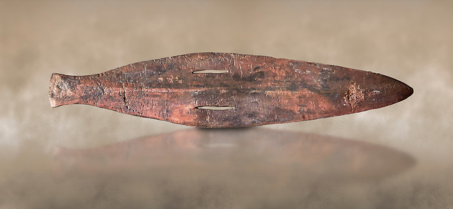 Cycladic bronze spearhead.  Early Cycladic II (2800-2300 BC) , Amorgos. National Archaeological Museum Athens.