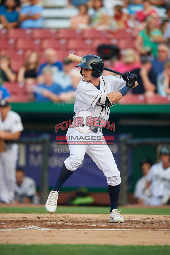 Kane County Cougars third baseman Ryan Grotjohn (33) at bat during a game against the South Bend Cubs on July 23, 2018 at Northwestern Medicine Field in Geneva, Illinois.  Kane County defeated South Bend 8-5.  (Mike Janes/Four Seam Images)