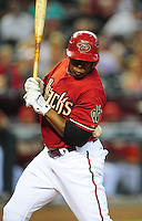 Jun. 5, 2011; Phoenix, AZ, USA; Arizona Diamondbacks batter Justin Upton is hit by a pitch in the sixth inning against the Washington Nationals at Chase Field. Mandatory Credit: Mark J. Rebilas-