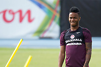 Raheem Sterling of England looks dejected during training