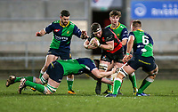 Friday 6th March 2020 | Armagh RFC vs Ballynahinch RFC<br /> <br /> Robert Whitten Is tackled by Conal Boomer during the Bank Of Ireland Ulster Senior Cup Final between the City of Armagh RFC and Ballynahinch RFC at Kingspan Stadium, Ravenhill Park, Belfast, Northern Ireland. Photo by John Dickson / DICKSONDIGITAL