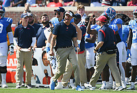 Ole Miss head coach Lane Kiffin reacts, Saturday, October 9, 2021 during the third quarter of a football game at Vaught Hemingway Stadium in Oxford, Miss. Check out nwaonline.com/211010Daily/ for today's photo gallery. <br /> (NWA Democrat-Gazette/Charlie Kaijo)