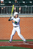 T.J. Nichting (1) of the Charlotte 49ers at bat against the Xavier Musketeers at Hayes Stadium on March 3, 2017 in Charlotte, North Carolina.  The 49ers defeated the Musketeers 2-1.  (Brian Westerholt/Four Seam Images)