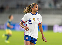 ORLANDO, FL - JANUARY 22: Catarina Macario #29 of the USWNT looks to the ball during a game between Colombia and USWNT at Exploria stadium on January 22, 2021 in Orlando, Florida.