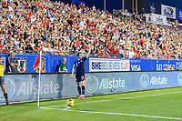 FRISCO, TX - MARCH 11: Megan Rapinoe #15 of the United States prepares for a corner kick in the first half during a game between Japan and USWNT at Toyota Stadium on March 11, 2020 in Frisco, Texas.
