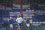 Portsmouth fans flags and banners. Oldham v Portsmouth League 1