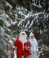KOSTROMA REGION, RUSSIA. DECEMBER 13, 2014. Father Frost [Russian Santa Claus] and Snow Maiden walk in a forest. Vladimir Smirnov/TASS