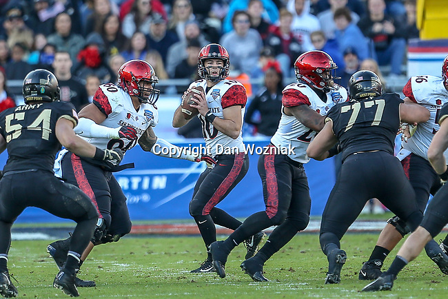 San Diego State Aztecs quarterback Christian Chapman (10) in action during the Armed Forces Bowl game between the San Diego State Aztecs and the Army Black Knights at the Amon G. Carter Stadium in Fort Worth, Texas.