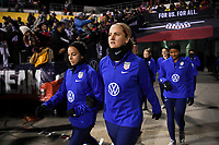 COLUMBUS, OH - NOVEMBER 07: Mallory Pugh #2 and Lindsey Horan #9 walk out to warm up during a game between Sweden and USWNT at MAPFRE Stadium on November 07, 2019 in Columbus, Ohio.