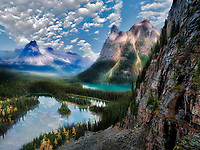 Mary's Lake and Lake O'hara with fall colored larch. Yoho National Park, Opabin Plateau, British Columbia, Canada