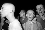 Skinheads in Camden Town at The Electric Ballroom dancing to   UB40. London 1980.<br /> <br /> The Electric Ballroom, Camden, London a UB40 gig. The British reggae pop band took their name from the Unemployment Benefit, Form 40. The UB40 form no longer exists.