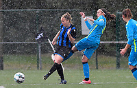 Brugge's Celien Guns pictured with Union's Maelis Henneuse during a female soccer game between the women teams of Club Brugge YLA Dames and Union Saint-Ghislain Tertre-Hautrage Ladies on the 1/16 th qualifying round for the Belgian Womens Cup 2020  2021 , on saturday 26 th of September 2020  in Brugge , Belgium . PHOTO SPORTPIX.BE | SPP | DAVID CATRY