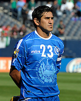 El Salvador's Luis Anaya lines up for the national anthem.  El Salvador defeated Cuba 6-1 at the 2011 CONCACAF Gold Cup at Soldier Field in Chicago, IL on June 12, 2011.