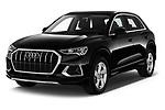 2019 Audi Q3 Advanced 5 Door SUV Angular Front stock photos of front three quarter view