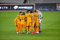 CARSON, CA - OCTOBER 28: Houston Dynamo starting eleven huddle during a game between Houston Dynamo and Los Angeles FC at Banc of California Stadium on October 28, 2020 in Carson, California.