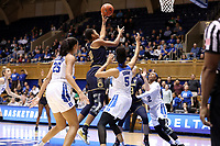 DURHAM, NC - JANUARY 16: Mikayla Vaughn #30 of Notre Dame University takes a shot in traffic during a game between Notre Dame and Duke at Cameron Indoor Stadium on January 16, 2020 in Durham, North Carolina.