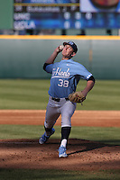 J.B. Bukauskas (38) of the North Carolina Tar Heels pitches against the UCLA Bruins at Jackie Robinson Stadium on February 20, 2016 in Los Angeles, California. UCLA defeated North Carolina, 6-5. (Larry Goren/Four Seam Images)