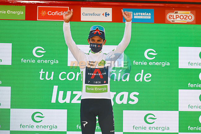 Egan Bernal (COL) Ineos Grenadiers retains the young riders White Jersey at the end of Stage 12 of La Vuelta d'Espana 2021, running 175km from Jaén to Córdoba, Spain. 26th August 2021.     <br /> Picture: Luis Angel Gomez/Photogomezsport | Cyclefile<br /> <br /> All photos usage must carry mandatory copyright credit (© Cyclefile | Luis Angel Gomez/Photogomezsport)