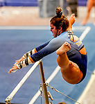 February 19, 2021: Long Island University's Ella Castellanos competes on the uneven bars during the 2nd Annual George McGinty Alumni Meet at the SECU Arena at Towson University in Towson, Maryland. Scott Serio/Eclipse Sportswire/CSM