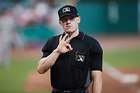 Home plate umpire Lane Cullipher during the game between the Augusta GreenJackets and the Charleston Boiled Peanuts at Joseph P. Riley, Jr. Park on June 26, 2021 in Charleston, South Carolina. (Brian Westerholt/Four Seam Images)