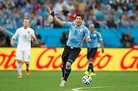 Luis Suarez of Uruguay shouts