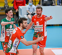 Dutch Jelte Maan of Maaseik  pictured during a Volleyball game between Knack Volley Roeselare and Greenyard Maaseik , the third game in a best of five in the play offs in the 2020-2021 season , saturday 10 th April 2020 at the Schiervelde international Sportshall in Roeselare  , Belgium  .  PHOTO SPORTPIX.BE   DAVID CATRY