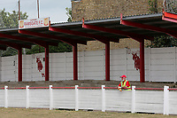 A Ramsgate steward looks on with no fans allowed into the ground owing to the Coronavirus pandemic during Ramsgate vs Folkestone Invicta, Friendly Match Football at Southwood Stadium on 1st August 2020