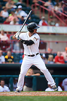 Erie Seawolves outfielder Jeff McVaney (8) at bat during a game against the Harrisburg Senators on August 30, 2015 at Jerry Uht Park in Erie, Pennsylvania.  Harrisburg defeated Erie 4-3.  (Mike Janes/Four Seam Images)
