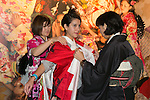 A foreign visitor wears a traditional kimono during the Moshi Moshi Nippon Festival 2016 on November 26, 2016 in Tokyo, Japan. Moshi Moshi Nippon Festival 2016 aims to promote Japanese pop culture (fashion, anime, technology, music and food) to the world, and non-Japanese visitors are able to enter the event for free by showing their passport. This year's two day event included live shows by Japanese pop stars Silent Siren, Dempagumi.inc, Tempura Kids, Capsule and Kyary Pamyu Pamyu at the Tokyo Metropolitan Gymnasium. (Photo by Rodrigo Reyes Marin/AFLO)