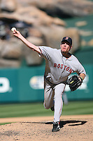 Curt Schilling of the Boston Red Sox during a game against the Los Angeles Angels in a 2007 MLB season game at Angel Stadium in Anaheim, California. (Larry Goren/Four Seam Images)