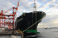 An Evergreen ship the Ever Reward unloads cargo at Tokyo Bay Dockyard on Odaiba Island, Tokyo, Japan. Japan has seen a decrease in exports due to the value of the Yen which has made imported goods much cheaper in the recession hit country, the world's third largest economy..23 Nov 2010