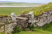 Northumberland,  England, UK.  Milecastle 37 with Remains of Arch over Gateway opening to the North.  Broomlee Lough in the distance.