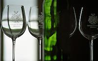 Wine glasses. Chateau du Tertre, Margaux, Medoc, Bordeaux, France