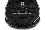 Car Stock 2020 BMW M8-Gran-Coupe Competition 4 Door Sedan Engine  high angle detail view