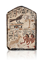 "Ancient Egyptian stele didicated to the swallow and cat by Nebra, limestone, New Kingdom, 19th Dynasty, (1292-1190 BC), Deir el-Medina, Egyptian Museum, Turin. white background. Drovetti Cat No 1591.<br /> <br /> In the top register of this votive stele a swallow  (Hirundinidae) is shown perched on top of a shrine. An offering table is placed in front of it on the right side. The bird is called ""the good swallow"". In the lower register Nakhamun and Khay, Nebre's two sons, kneel in adoration in front of a large cat. They both hold a bouquet in their right hand, the left hand is raised in adoration before the good cat"" (Houlihan,1996,87). The swallow and the cat both represent two minor deities, Menet and Tamit, who are  closely connected with the region of the Theban necropolis. It is unusual that this stele has been dedicated by Nebre, the royal craftsman, without him being depicted."
