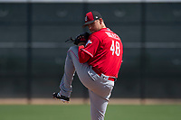 Cincinnati Reds starting pitcher Jared Hughes (48) during a Minor League Spring Training game against the Los Angeles Angels at the Cincinnati Reds Training Complex on March 15, 2018 in Goodyear, Arizona. (Zachary Lucy/Four Seam Images)
