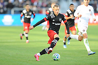 WASHINGTON, DC - MARCH 07: Erick Sorga #50 of D.C. United moves the ball during a game between Inter Miami CF and D.C. United at Audi Field on March 07, 2020 in Washington, DC.