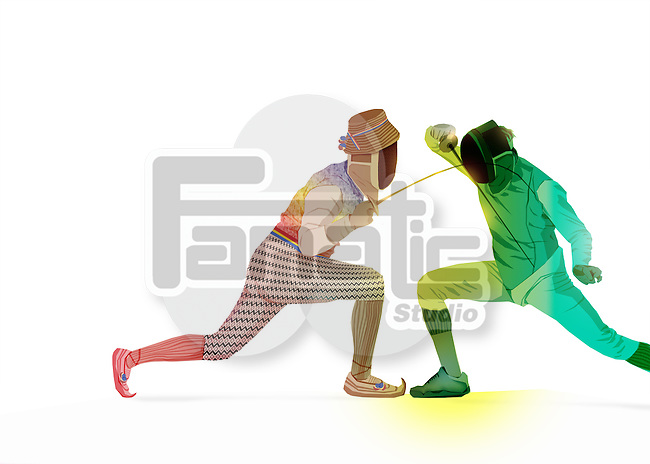 Full length of male fencers fighting over white background