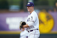 Winston-Salem Dash first baseman Gavin Sheets (24) on defense against the Myrtle Beach Pelicans at BB&T Ballpark on August 6, 2018 in Winston-Salem, North Carolina. The Dash defeated the Pelicans 6-3. (Brian Westerholt/Four Seam Images)