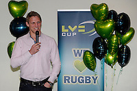 20130317 Copyright onEdition 2013©.Free for editorial use image, please credit: onEdition..Lewis Moody (former Bath Rugby and England captain) speaks to LV= guests before the LV= Cup Final between Harlequins and Sale Sharks at Sixways Stadium on Sunday 17th March 2013 (Photo by Rob Munro)..For press contacts contact: Sam Feasey at brandRapport on M: +44 (0)7717 757114 E: SFeasey@brand-rapport.com..If you require a higher resolution image or you have any other onEdition photographic enquiries, please contact onEdition on 0845 900 2 900 or email info@onEdition.com.This image is copyright onEdition 2013©..This image has been supplied by onEdition and must be credited onEdition. The author is asserting his full Moral rights in relation to the publication of this image. Rights for onward transmission of any image or file is not granted or implied. Changing or deleting Copyright information is illegal as specified in the Copyright, Design and Patents Act 1988. If you are in any way unsure of your right to publish this image please contact onEdition on 0845 900 2 900 or email info@onEdition.com