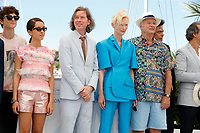 """CANNES, FRANCE - JULY 13: Timothee Chalamet, Lyna Khoudri, Wes Anderson, Tilda Swinton, Bill Murray at photocall for the film """"The French Dispatch"""" at the 74th annual Cannes Film Festival in Cannes, France on July 13, 2021 <br /> CAP/GOL<br /> ©GOL/Capital Pictures"""
