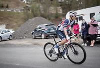 Kenny Elissonde (FRA/Trek - Segafredo) up the climb towards La Plagne (HC/2072m/17.1km@7.5%) <br /> <br /> 73rd Critérium du Dauphiné 2021 (2.UWT)<br /> Stage 7 from Saint-Martin-le-Vinoux to La Plagne (171km)<br /> <br /> ©kramon