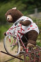 Europe/France/Midi-Pyrénées/65/Hautes-Pyrénées/Arreau: Ours en peluche avec le maillot du meilleur grimpeur, lors du passage du Tour de France