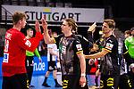 Freude nach Sieg / High-Five: Till Klimpke (Deutschland #98) ; Juri Knorr (Deutschland #15) ; re: Rune Dahmke (Deutschland #34) ; EHF EURO-Qualifikation / EM-Qualifikation / Handball-Laenderspiel: Deutschland - Estland am 02.05.2021 in Stuttgart (PORSCHE Arena), Baden-Wuerttemberg, Deutschland.<br /> <br /> Foto © PIX-Sportfotos *** Foto ist honorarpflichtig! *** Auf Anfrage in hoeherer Qualitaet/Aufloesung. Belegexemplar erbeten. Veroeffentlichung ausschliesslich fuer journalistisch-publizistische Zwecke. For editorial use only.