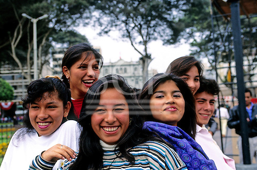 Lima, Peru. Group of smiling city girls.