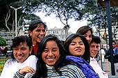 Lima, Peru. Group of smiling city girls.