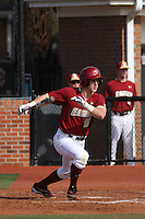 Boston College 1st baseman Rob Moir #16 at bat during a game against the James Madison University Dukes at Watson Stadium at Vrooman Field on February 18, 2012 in Conway, SC.  Boston College defeated James Madison 8-5.  (Robert Gurganus/Four Seam Images)
