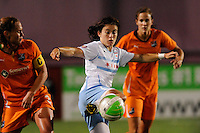 Karen Carney (14) of the Chicago Red Stars plays the ball. The Chicago Red Stars defeated Sky Blue FC 2-1 during a Women's Professional Soccer (WPS) match at Yurcak Field in Piscataway, NJ, on August 01, 2010.