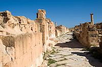 Sabratha, Libya, North Africa - Roman ruins.  Street alongside Antonine Temple.